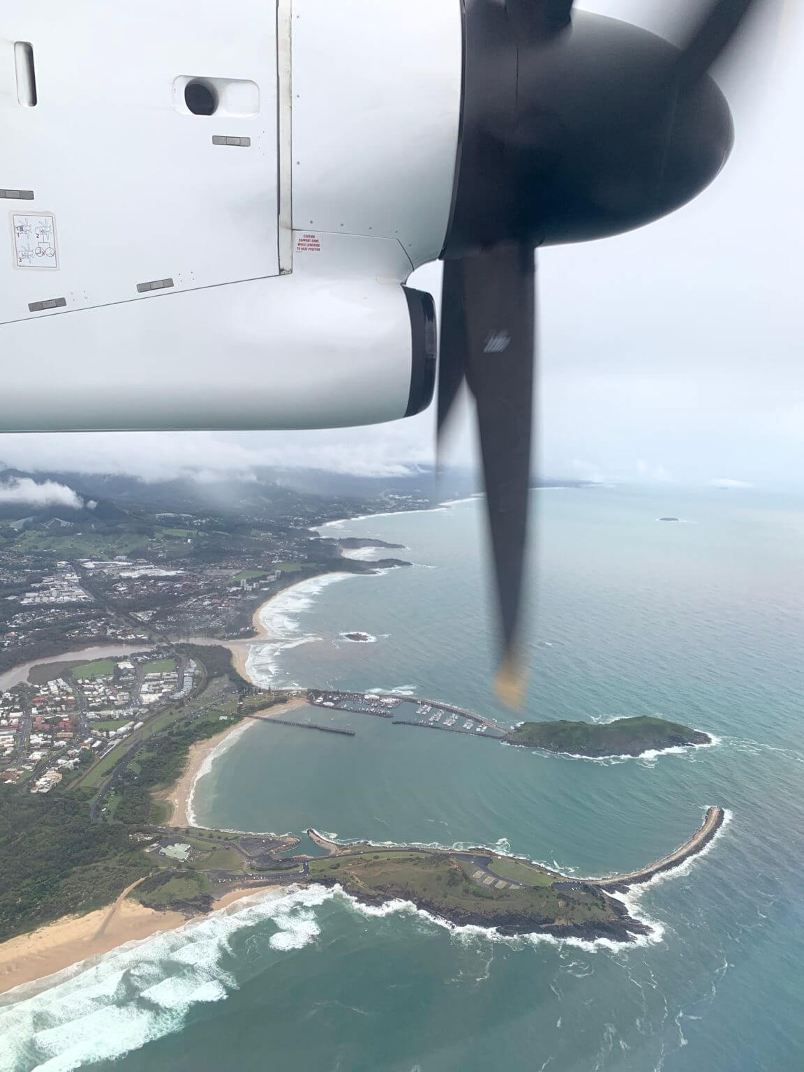 View of the coast from the airplane window.